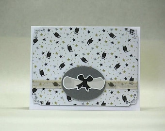 Cute Graduation card with diploma you choose inside sentiment mini mortar boards appropriate for any age or sex