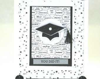 Cute Graduation card you choose inside sentiment appropriate for any age or sex you did it! Way to go! Mortar Board speech bubbles confetti