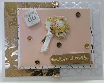 Wedding marriage Card 1st Corinthians 13:13 message inside Delicate elegant Mr and Mrs flowers we do