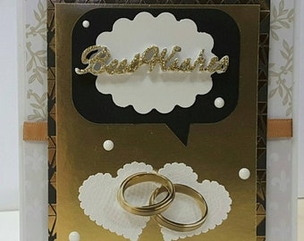 OOAK Wedding marriage Card best wishes on your marriage message inside Delicate elegant Hearts rings