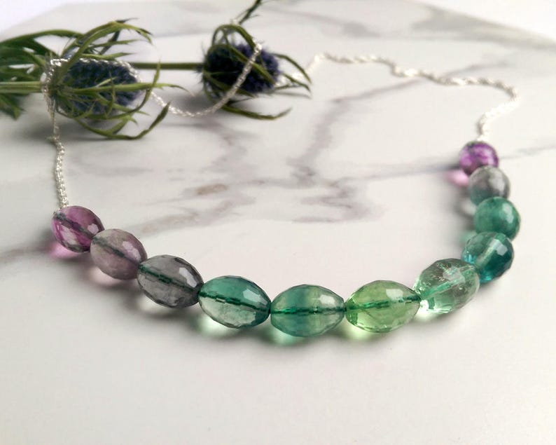 Ombre jewellery Gemstone necklace- Fluorite purple /& green Ombre with sterling silver chain half and half necklace OOAK gemstone jewelry