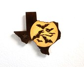 Texas Moon with Bats Wooden Refrigerator Magnet