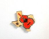 Austin Texas Heart guitar Wooden Refrigerator Magnet