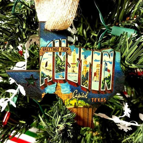 Austin Texas Graffiti Flag Christmas Ornament / gift tag | Etsy