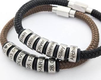 Gifts for him christmas, man bracelet, stocking fillers men, boyfriend birthday gift, mens bracelet in the UK, kids names bracelet for men