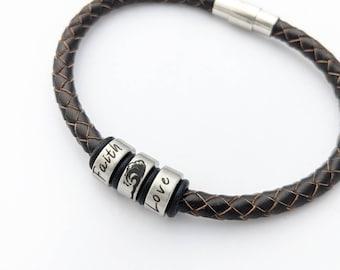 Surfer bracelet, beach lover, surfer gifts, words bracelet, faith, love, custom bracelet, positivity gifts, inspirational bracelet