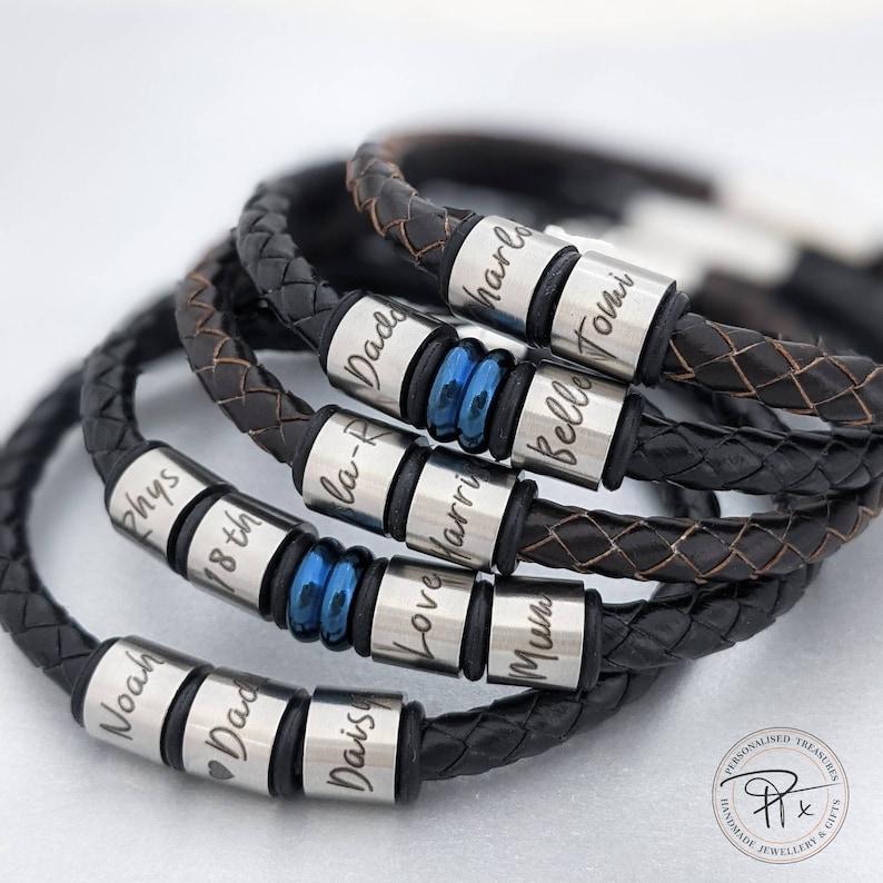 Mens bracelet personalized gifts leather bracelet mens image 1