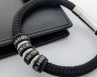 Mens christmas gifts, custom bracelet man, personalised bracelet for him, boyfriend birthday gift