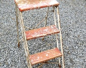 Vintage Mid Century Industrial Rustic Wood Metal Step Ladder Primitive Farmhouse Folding Collapsible Country Cottage Architectural Salvage