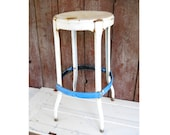Antique Industrial Metal Stool Rustic Garden Plant Stand 1950s Mid Century Blue White Patio Cafe Kitchen Display Country Primitive