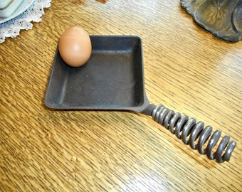 Escargot cast iron Antique Egg Poacher pan old rustic farmhouse chicken kitchen decor wooden handle wall hanging french vintage old