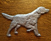 Industrial Rustic Cast Aluminium Hunting Setter Dog Plaque Whole Body Ornamental Salvage Decor