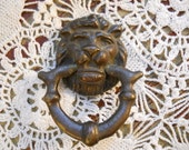 1880s Victorian English Lion Head Door Knocker Small Antique French Bronze Lion Vintage Doorknocker Hollywood Regency Art Deco Lion