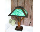 Antique WB Brown Mission Green Slag Glass Lamp Quartersawn Oak Arts Crafts Stickley Era Library Table Lamp Architectural Lighting