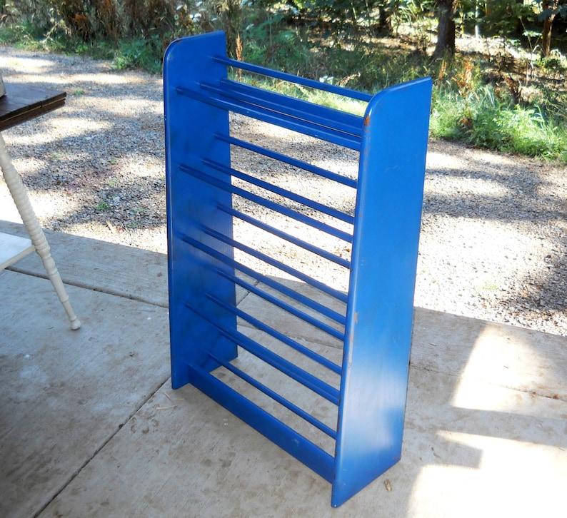Mid Century Oak Wood Shoe Display Rack Organizer Danish Modern Decor Painted Cobalt Blue Art Deco Vintage 1970s Eames Industrial Farmhouse
