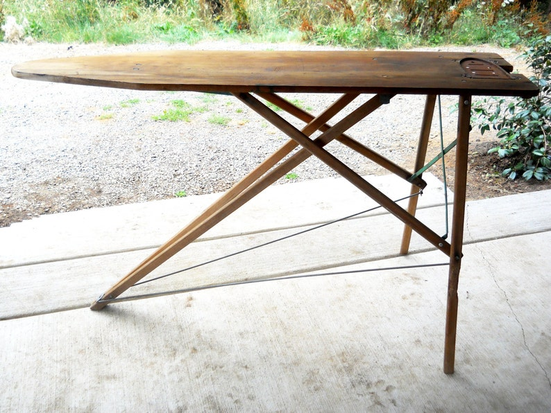 Antique Rare Wooden Ironing Board Iron Sole Plate Victorian Laundry Display Primitive Industrial Farmhouse Rustic Maid Housekeeping