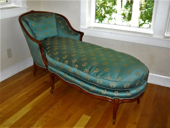 Stupendous Antique French Country Louise Xv Bergere Chair Chaise Lounge Day Bed Napoleon Bee Laurel Wreath Turquoise Emerald Green Silk Carved Wood Machost Co Dining Chair Design Ideas Machostcouk