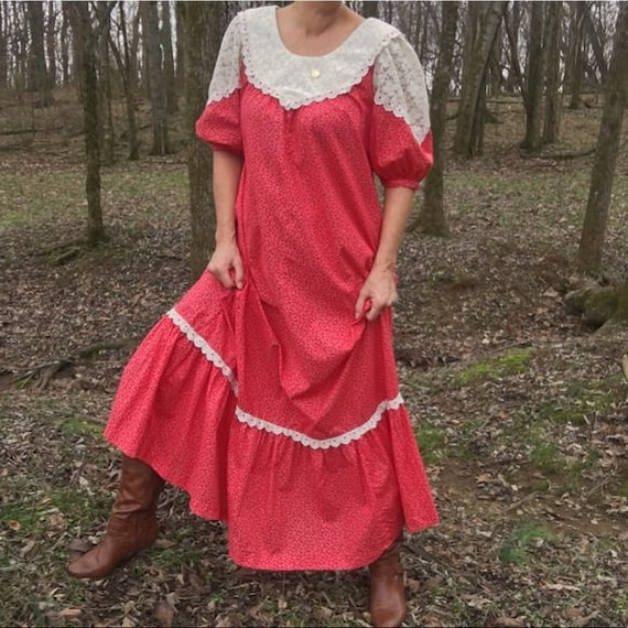 Vintage Hand Made 1970s Boho Hippie Long Dress Red