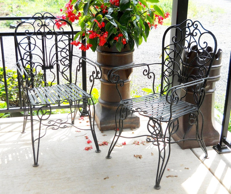 Iron Patio Chair Garden Set Vintage Rare Art Nouveau Victorian Etsy