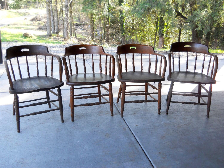 ... image 3 ... - Rare PAIR 1900 Tavern Oak Chair Set Rustic Farmhouse Heywood Etsy