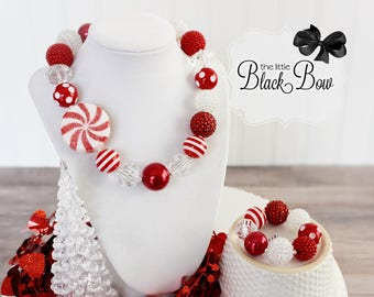 CANDY CANE SWIRL Christmas Chunky Necklace, Christmas Bracelet, Red & White Beads, Child Adult Size Girls Chunky Bead Statement Jewelry