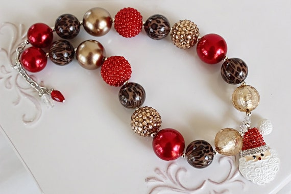 Kids Jewelry Handmade Jewelry Toddler Necklace Chunky Beads Kids Red Swirl Bubblegum Bead Adjustable Necklace
