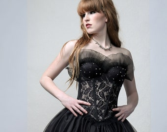 MAUDE - One of a kind couture Bustier decorated with metal studs