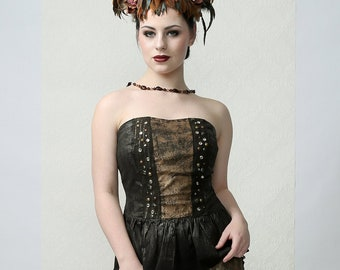WARRIOR SOUL - Couture Bustier Top, rock style, steampunk style, perfect for Burning Man, stage performance or cosplay events
