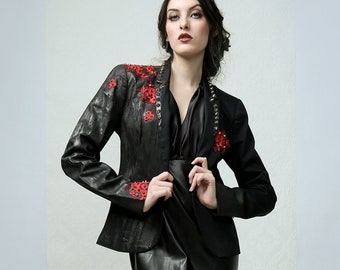 ROSA - Black handpainted red-lace embroidered couture blazer with metal studs