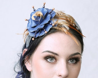 BLUE - Denim Fascinator Hat, Hair accessory, Headband, Cocktail hat