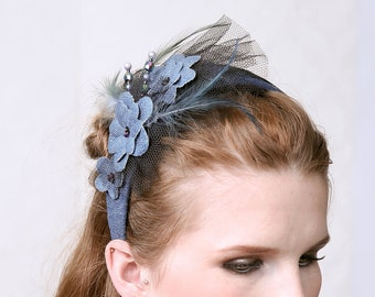 BELLE -  Denim Fascintor Hat, Diadem, Headband