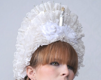 LIKE A VIRGIN -  Headdress hand made with antique French lace, perfect for wedding, film or theatre stage performance