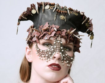 WARRIOR - Leather Headdress, Armour Headdress, Hat, Warrior Style, Perfect for Burning Man, stage perdormance, cosplay