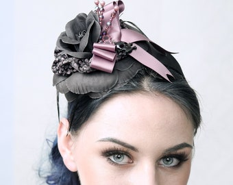 Skully Flower - Fascinator Hat, Headpiece for Prom, Wedding or Burlesque party outfit