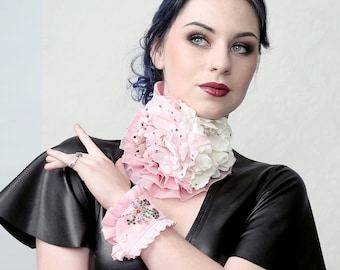 Cream Pinky - Ruffle collar and cuffs prfect for burlesque, prom or bridal outfit