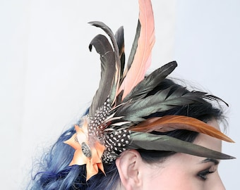 GINGER BURNS - Fascinator hat, headpiece, hair jewel