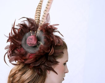 OPERA - Fascinator hat, cocktail hat, headpiece, bridal hair accessory, hair jewel