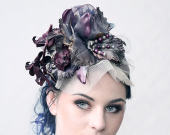 "Couture fascinator ""PURPLE HAZE"". for wedding, formal occasions, gala or Ascot Ladies day"