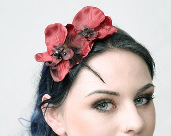 "Couture fascinator ""ORCHID & BLACK FEATHER"""
