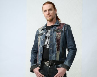 Flowers & Ink - Handpainted patchwork embroidered denim jeans mens jacket