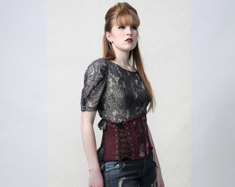 Floral - Victorian/Steampunk Corset Train Skirt for wedding, costume events or stage performances
