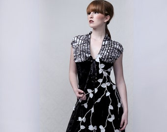 ROSES & THORNS - Couture dress, one-of-a-kind, long black velvet dress with hand embroidery