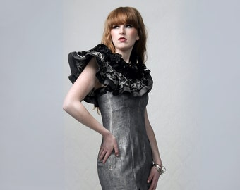 Flower Motive - Hand painted asymmetric 2Piece couture Dress with seperate multi-way wearable collar