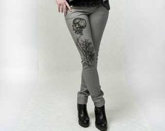 Skull Branches - Skinny jeans, grey jeans, punk, rock style