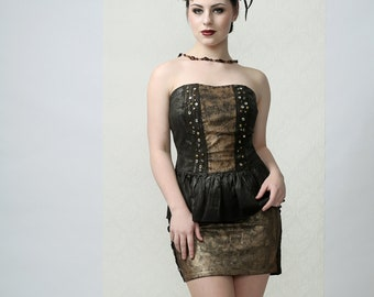 FREYA - Black mini skirt handpainted golden coating and black lace, perfect for Burning Man, Party or Stage Performace