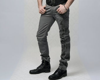 No Vision Flower Bomb - Art Jeans with silk screen printed artwork, grey trouser, men's trouser, pants