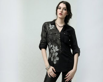 Flowers - studded top, shirt, blouse with hand painted ink coating and silk screen print artwork