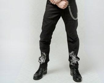 Branches - Art jeans, silk screen printed black denim jeans pants