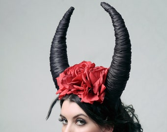 Rose Horns - theatrical headdress for wedding, theatre, stage performances or costume events like Burning Man or Elfia
