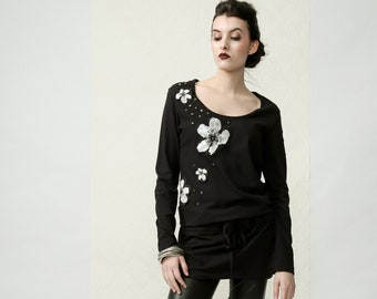 Flowers - long sleeve tunic top with silk screen printed patchwork and studs